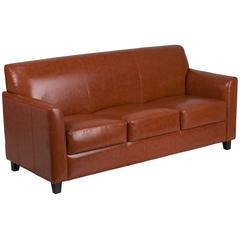 Cognac Leather Sofa with Clean Line Stitched Frame
