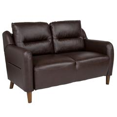 Upholstered Bustle Back Loveseat in Brown Leather