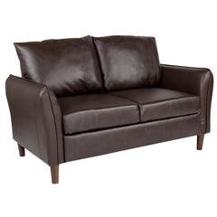 Upholstered Plush Pillow Back Loveseat in Brown Leather