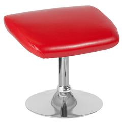 Red Leather Ottoman Footrest with Chrome Base