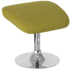Green Fabric Ottoman Footrest with Chrome Base