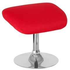 Red Fabric Ottoman Footrest with Chrome Base