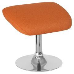 Orange Fabric Ottoman Footrest with Chrome Base