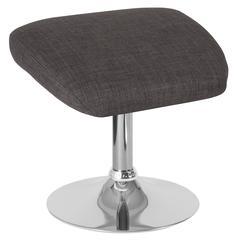 Dark Gray Fabric Ottoman Footrest with Chrome Base
