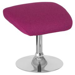 Magenta Fabric Ottoman Footrest with Chrome Base