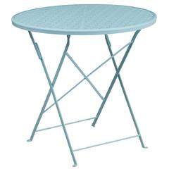 30'' Round Sky Blue Indoor-Outdoor Steel Folding Patio Table