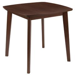31.5'' Square Walnut Finish Wood Dining Table with Clean Lines and Braced Legs