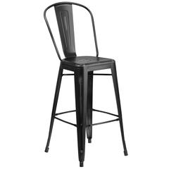 30'' High Distressed Black Metal Indoor-Outdoor Barstool with Back