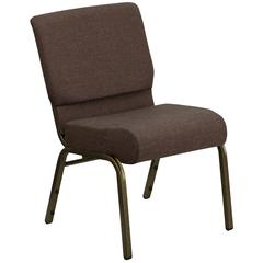 21''W Stacking Church Chair in Brown Fabric - Gold Vein Frame