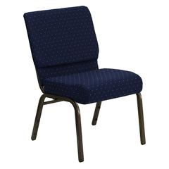 21''W Stacking Church Chair in Navy Blue Dot Patterned Fabric - Gold Vein Frame