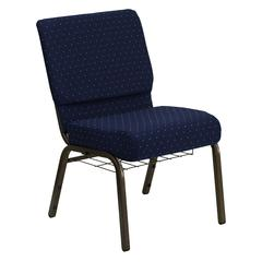 21''W Church Chair in Navy Blue Dot Patterned Fabric with Book Rack - Gold Vein Frame