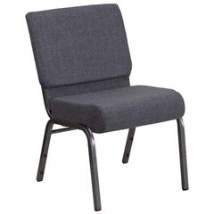 21''W Church Chair in Dark Gray Fabric - Silver Vein Frame