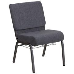 21''W Church Chair in Dark Gray Fabric with Book Rack - Silver Vein Frame