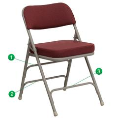 Premium Curved Triple Braced & Double Hinged Burgundy Fabric Metal Folding Chair