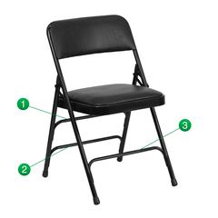 Curved Triple Braced & Double Hinged Black Vinyl Fabric Metal Folding Chair