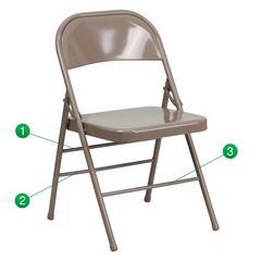 Triple Braced & Double Hinged Beige Metal Folding Chair