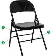 Triple Braced & Double Hinged Black Metal Folding Chair