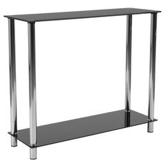 Black Glass Console Table with Shelves and Stainless Steel Frame