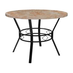 """42"""" Round Dining Table in Quartz Marble-Like Finish"""