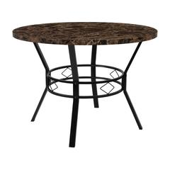 """42"""" Round Dining Table in Espresso Marble-Like Finish"""