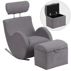 Gray Fabric Rocking Chair with Storage Ottoman