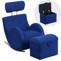 Blue Fabric Rocking Chair with Storage Ottoman