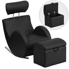 Black Vinyl Rocking Chair with Storage Ottoman