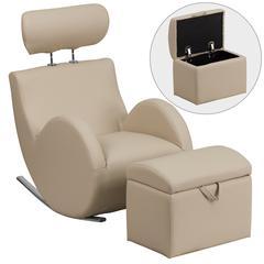 Beige Vinyl Rocking Chair with Storage Ottoman