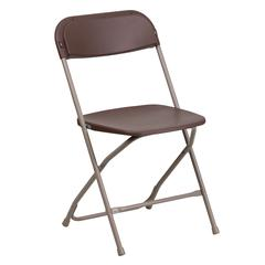 800 lb. Capacity Premium Brown Plastic Folding Chair