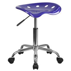 Vibrant Deep Blue Tractor Seat and Chrome Stool