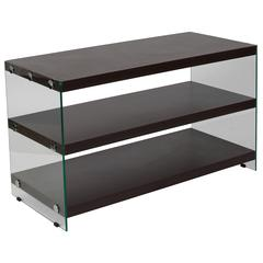 Dark Ash Wood Grain Finish TV Stand with Shelves and Glass Frame