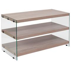 Natural Wood Grain Finish TV Stand with Shelves and Glass Frame