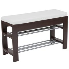 Espresso Wood Finish Storage Bench with Cushion