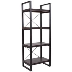 Charcoal Wood Grain Finish Bookshelf with Black Metal Frame