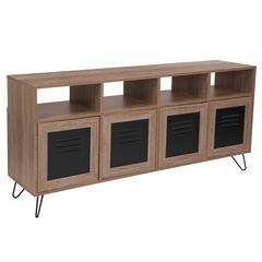 """85.5""""W 4 Shelf Storage Console/Cabinet with Metal Doors in Rustic Wood Grain Finish"""