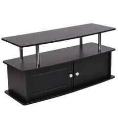 Black TV Stand with Shelves, Cabinet and Stainless Steel Tubing