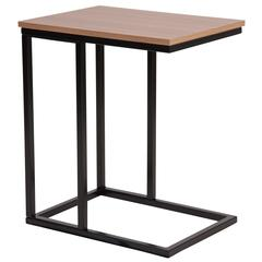 Rustic Wood Grain Finish Side Table with Black Metal Cantilever Base