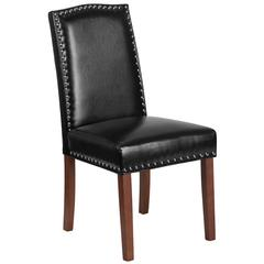 Black Leather Parsons Chair with Silver Nail Heads