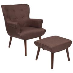 Upholstered Wingback Chair with Ottoman in Brown Fabric