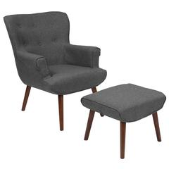 Upholstered Wingback Chair with Ottoman in Dark Gray Fabric