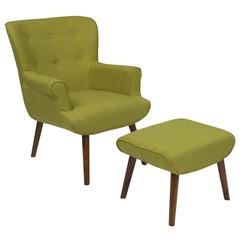 Upholstered Wingback Chair with Ottoman in Green Fabric