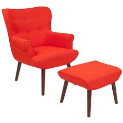 Upholstered Wingback Chair with Ottoman in Orange Fabric