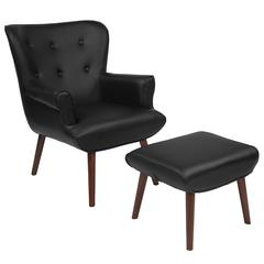 Upholstered Wingback Chair with Ottoman in Black Leather