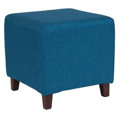 Taut Upholstered Cube Ottoman Pouf in Blue Fabric
