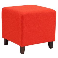 Upholstered Ottoman Pouf in Orange Fabric