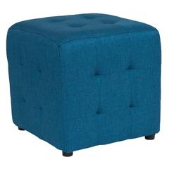 Tufted Upholstered Ottoman Pouf in Blue Fabric