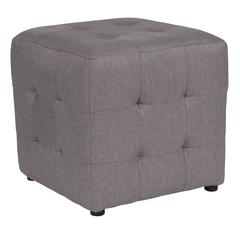 Grid Tufted Upholstered Cube Ottoman Pouf in Light Gray Fabric