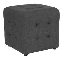Tufted Upholstered Ottoman Pouf in Dark Gray Fabric