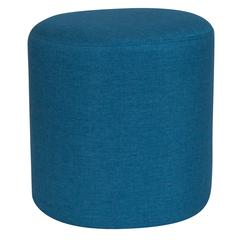 Upholstered Round Ottoman Pouf in Blue Fabric