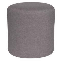 Taut Upholstered Round Ottoman Pouf in Light Gray Fabric